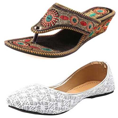 COMBO PAIR INDIAN THNIC PARTY CASUAL SHOES BALLIES JUTTIS MOJARY SLIPPER WOMENS