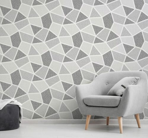 Crown Arendal Mono Grey Wallpaper /& Sample Geometric Retro M1476