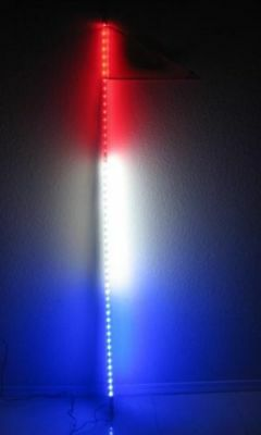 Blue 4 feet ATV UTV Led light bulb whip with flag Quick Release