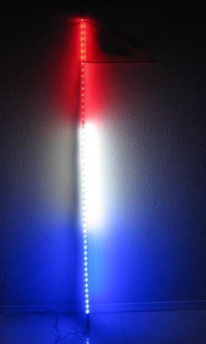 5 feet ATV UTV Led light bulb whip with flag Quick Release Red//White//Blue
