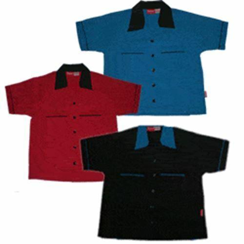 Blu NUOVO Nero Ragazzi Camicie Da Bowling Tenpin Retrò Stile Rockabilly in Rosso