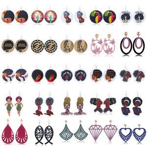 Women-Circular-African-Girl-Drop-Dangle-Earring-Wood-Jewelry-Boho-Ear-Studs-Gift