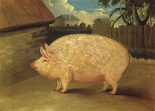 "1840 Art, PIG, Farm, Vintage Americana Artwork, antique decor, 14""x10"" Art Print"
