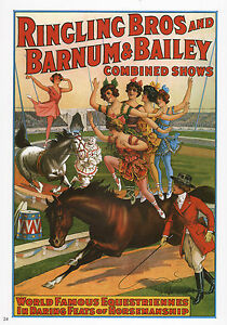 Vintage Ringling Bros Barnum Circus Advertisement Poster Remastered 11x17 inch