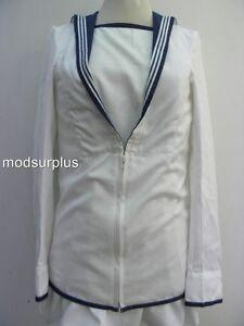Royal-Navy-Class-2-RN-C2-white-Square-cadet-no1-rigger-Sailor-Middy-midi-Jacket