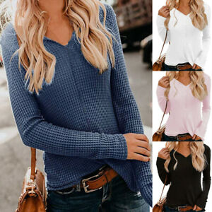 Hot-Cotton-V-neck-Women-039-s-Ladys-Long-Sleeve-Pure-Color-Blouse-Shirt-Blue-Sweater