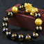 thumbnail 76 - Men-Fashion-Black-Lava-Stone-Gold-amp-Silver-Lion-Beaded-Cuff-Charm-Bangle-Bracelet