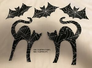 Die Cut Halloween Scardy Cats /& Bats iron-on Applique 5 pc cotton fabric