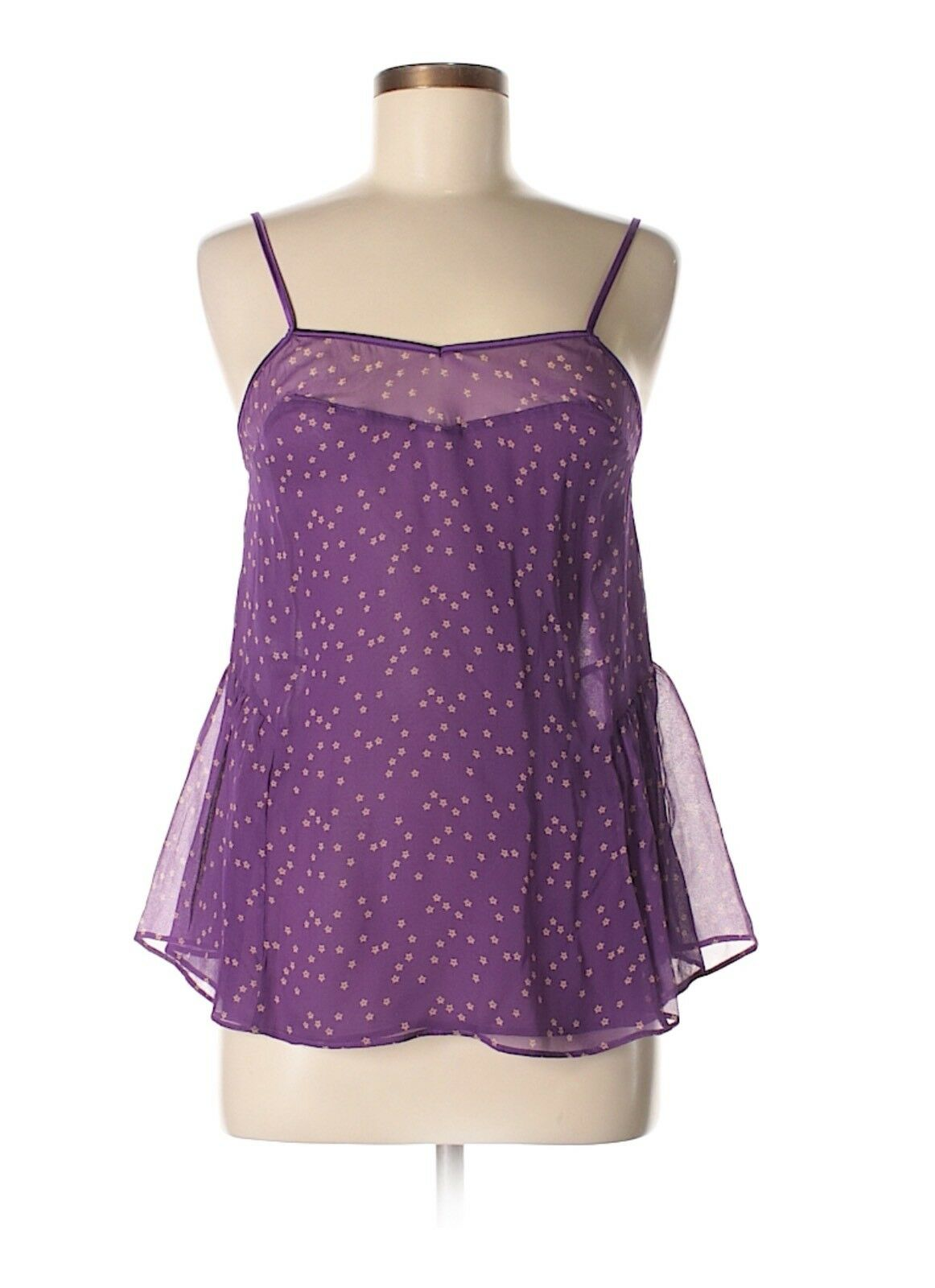 STELLA MCCARTNEY Purple SILK Star Print Camisole Top NEW NWT Med Medium