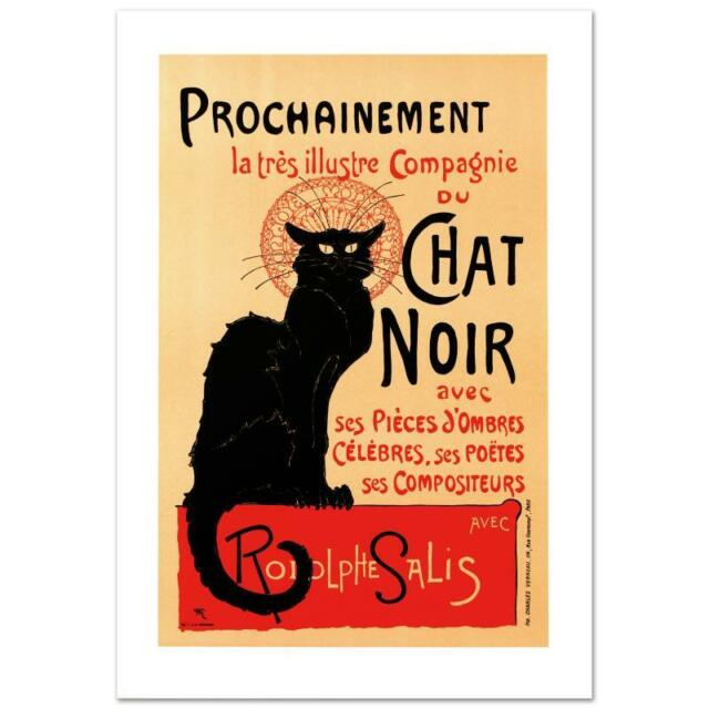 """""""Chat Noir"""" Lithograph RE Society Originally by Theophile-Alexandre Steinlen COA"""