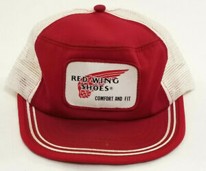 218ac6241 Details about Vintage Red Wing Shoes Trucker Hat Cap Snapback Made in the  USA Medium Mesh Back