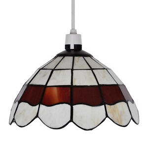 Retro-Style-Cream-amp-Red-Stained-Glass-Ceiling-Pendant-Light-Shade-Lampshade