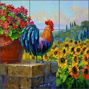Ceramic-Tile-Mural-Backsplash-Senkarik-Tuscan-Rooster-Sunflower-Art-MSA167