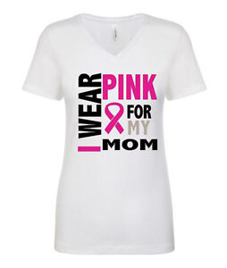 2644504f I WEAR PINK FOR MY SISTER Mother Breast Cancer Awareness V-Neck T-shirts