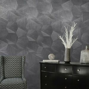 Charcoal-Black-hexagon-triangles-faux-grasscloth-textured-wallpaper-3D-illusion