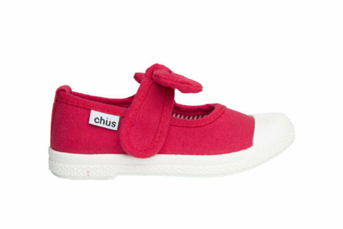 Chus Athena Red Canvas Mary Jane Bow Girl Shoes