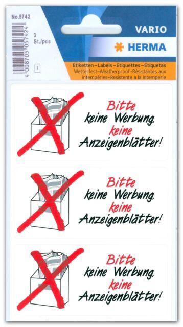 """3 Hinweisetiketten """"Keine Werbung, keine Anzeigenblätter"""" wetterfest, HERMA 5742"""