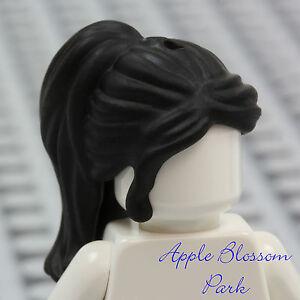 NEW Lego Girl Minifig Long BLACK HAIR Friends Female Princess Ponytail Head Gear