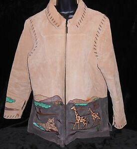 Quacker-Factory-Jacket-Large-Leather-womens-suede-tan-Designs-L-animals-coat