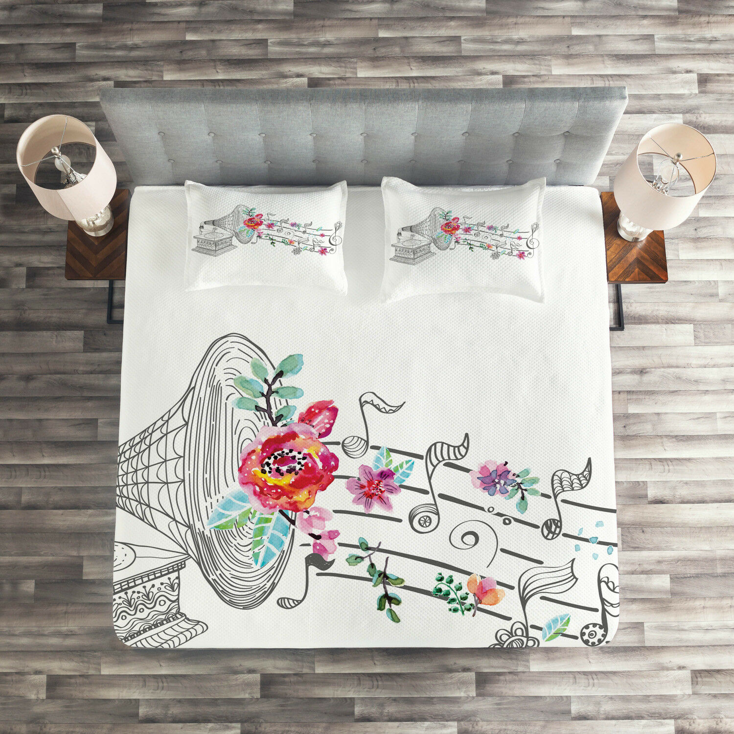Music Quilted Coverlet & Pillow Shams Set, Old Gramophone Player Print