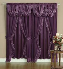 Sheer & Lace Victorian Window Curtain Set w/Satin Valance & Backing Panel PURPLE