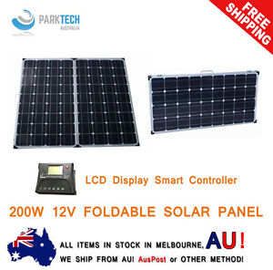 Details about 12V 200W FOLDING SOLAR PANEL KIT MONO CARAVAN BOAT CAMPING  POWER BATTERY