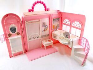 Details About Vintage Barbie Doll Playset Foldup House Bathtub Case Bathroom Spa 1998