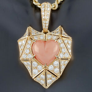 c0e53380 Bulgari Bvlgari High Jewelry 18k Yellow Gold Diamond and Coral Heart ...