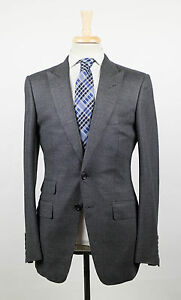 New-TOM-FORD-Gray-Peak-Lapels-Wool-Blend-2-Button-Suit-Size-48-38-R-4590