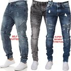 New ENZO Mens Stretch Super Skinny Cuffed Blue Denim Fit Biker Jogger Jeans