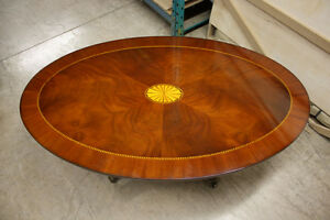 Image Is Loading Traditional Oval Pedestal Coffee Table Mahogany With Inlay