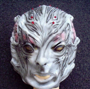 image is loading deluxe android halloween mask rubber mask red lights
