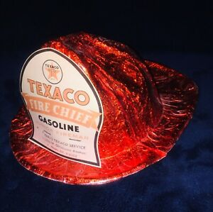 1960-s-Vintage-Texaco-Fire-Chief-Junior-Fireman-Foil-amp-Red-Cellophane-Helmet