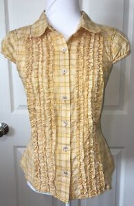 Sz-Small-Ivy-Jane-Embroidered-Butterfly-Blouse-Top-Yellow-Excellent-SO-CUTE