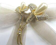 18KGP Calla lily Flower Swarovski Element Austrian Crystal Rhinestone Brooch Pin