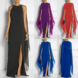Women-Long-Dress-Cap-Sleeve-Double-Side-Slit-Split-Long-Gown-Party-Maxi-Dress