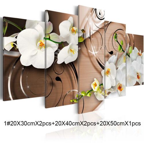 5pcs Modern Flower Canvas Painting Wall Art Home Decor Picture Print Decor Set