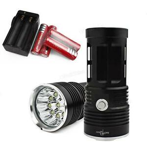 LAMPE-TORCHE-9-LED-22000-LUMENS-LED-CREE-FLASHLIGHT-4-PILES-18650-CHARGEUR