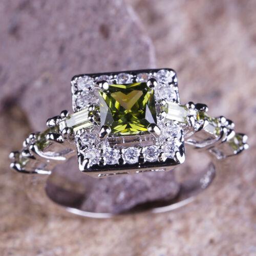Péridot /& White Topaz Gemstone Silver Ring Taille 6 7 8 9 10 Fashion Jewelry Gift