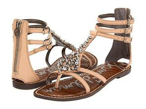 524937e5edb2 Image is loading SAM-EDELMAN-SANDALS-GLADIATOR -WOMENS-LEATHER-RHINESTONE-NATURAL-