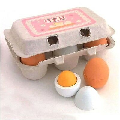 6pc Wooden Eggs Yolk Pretend Play Kitchen Food Kid Educational Toy Free Shipping