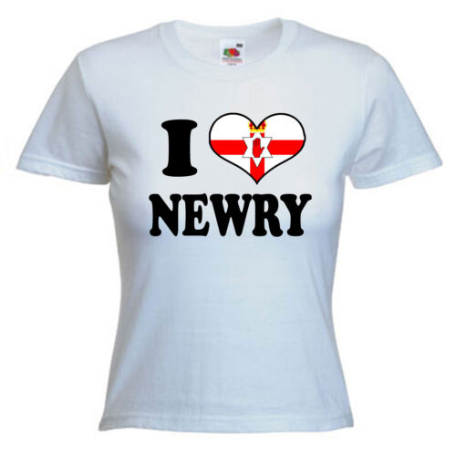 I Love Heart Newry Ladies Lady Fit T Shirt 13 Colours Size 6-16