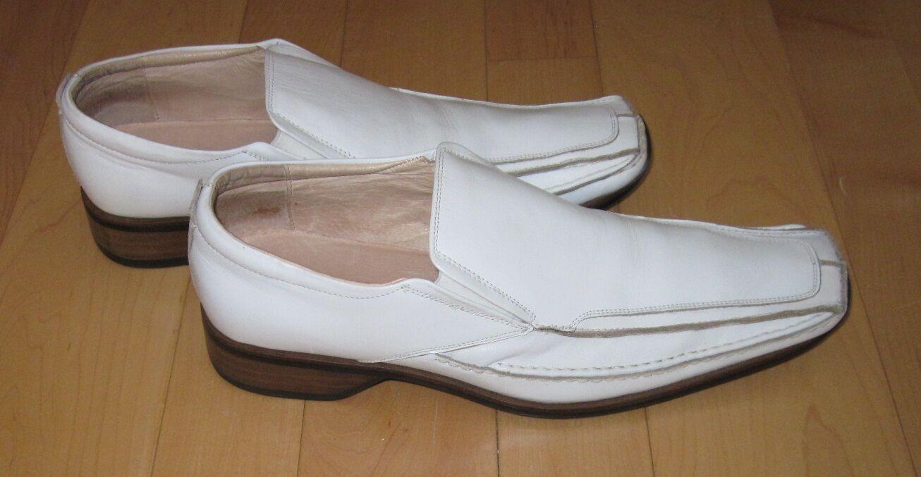 Giorgio Brutini Uomo White Pelle Slip On Square Toe Loafers Shoes 12 M
