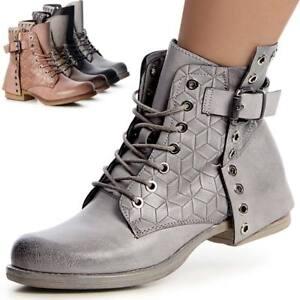 Damenschuhe-Worker-Biker-Boots-Stiefeletten-Stiefel-Booties
