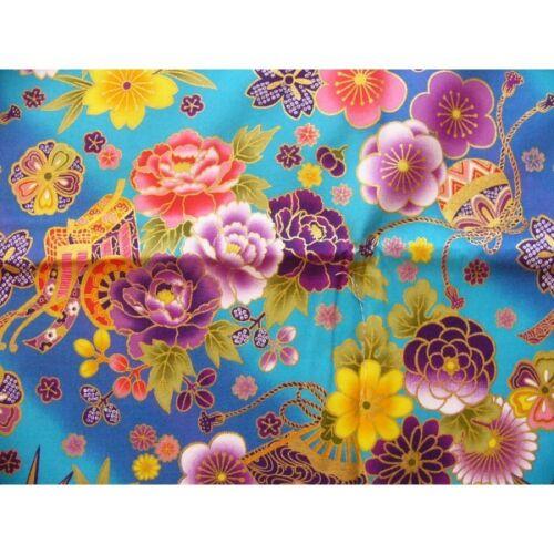 HANAGATARI coupon tissu Japonais 55x49cm origami chariot éventail fleur bleu 1