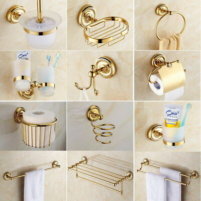 Luxury Gold Color Br Bathroom Accessories Set Bath Hardware Towel Bar Sset006
