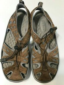 Privo-By-Clarks-Womens-Comfort-Shoes-Size-9M-Brown-Gray-Slip-On-Draw-String
