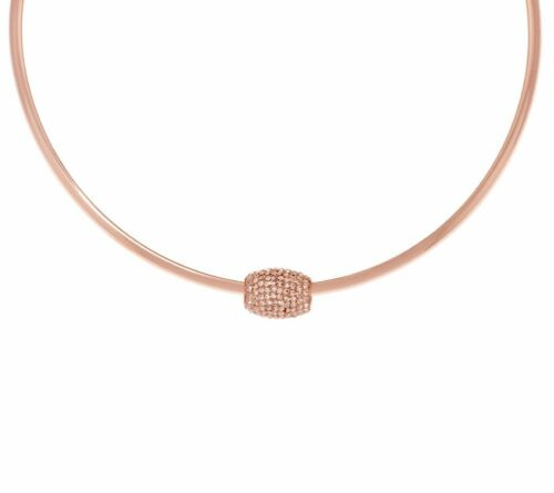 Rose Pink Gold Tone Stainless Steel Neck Collar w// Removable Crystal Slider QVC