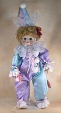 """Vintage Brinn's Porcelain Musical Clown Doll 16"""" With Box COA 1986"""