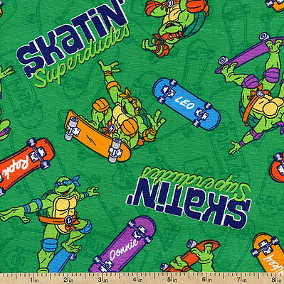 Ninja Turtles Skatin Superdudes Green 100 Cotton Fabric
